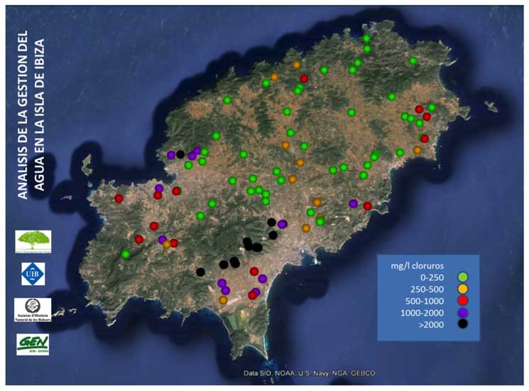 How Big a Problem? The map shows the salt water levels in various parts of the island.