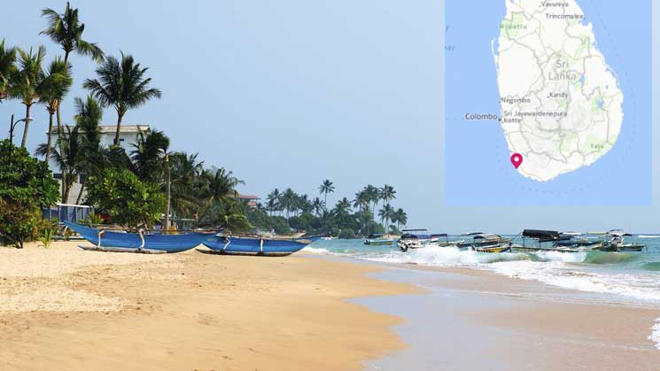 Scene of the tragedy, Hikkaduwa beach in Sri Lanka