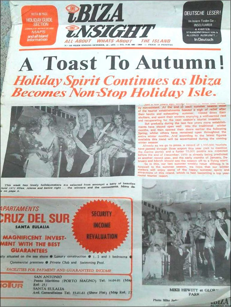 "46 Years Ago This Week - Ibiza insight from October 1972.  Priced at 10 pesatas the cover photo beauty contest caption reads ""this week two lovely holidaymakers are selected from a bevy of beauties …"".  The main news story talks of the importance of extending the summer season tourist trade into the winter months"