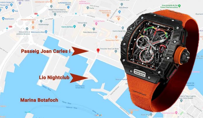 map of marina botafoch and picture of stolen watch