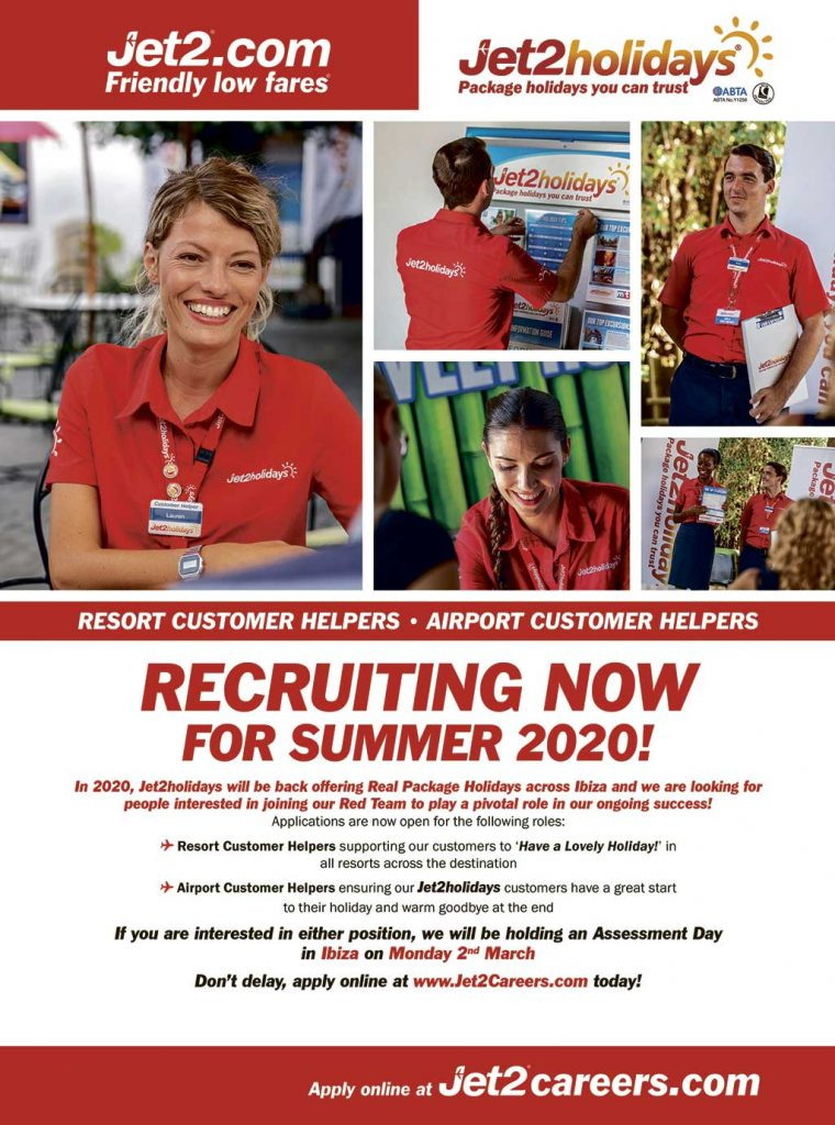 Jet2.com and Jet2Holidays Recruiting for Ibiza 2020